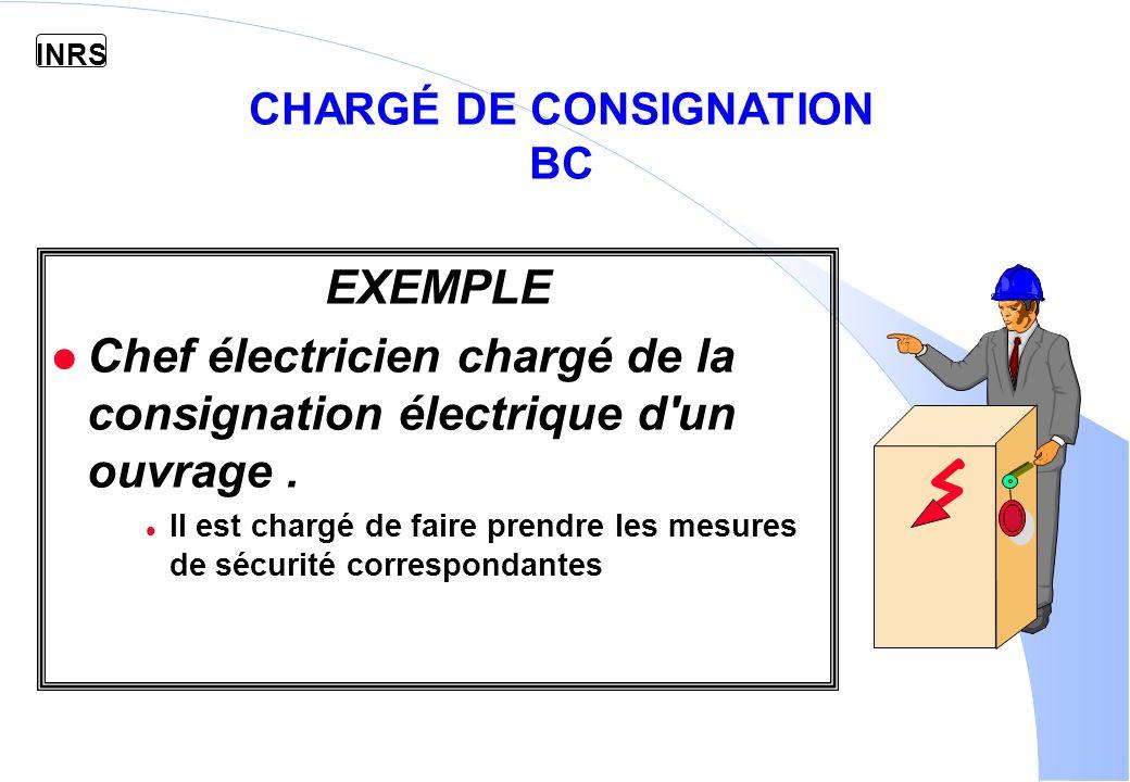 INRS CHARGÉ DE CONSIGNATION BC EXEMPLE l Chef électricien chargé de la consignation électrique d un ouvrage.