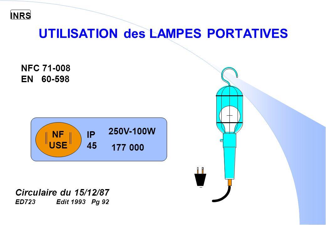 INRS UTILISATION des LAMPES PORTATIVES NF USE IP 45 250V-100W 177 000 NFC 71-008 EN 60-598 Circulaire du 15/12/87 ED723 Edit 1993 Pg 92