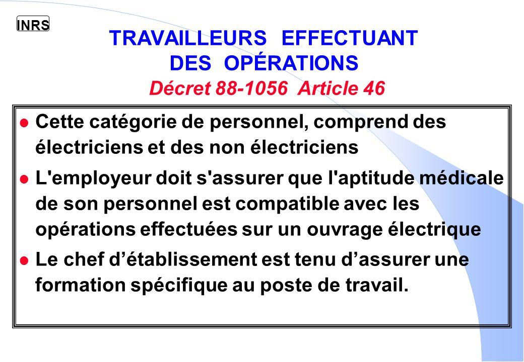INRS EXEMPLES DE CAS DHABILITATION UTE C 18-510 OPERATIONS DU DOMAINE B.T.
