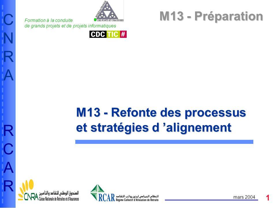 1 CNRARCARCNRARCAR mars 2004 M13 - Préparation M13 - Refonte des processus et stratégies d alignement Formation à la conduite de grands projets et de projets informatiques