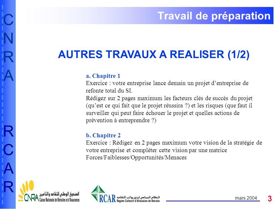 3 CNRARCARCNRARCAR mars 2004 Travail de préparation AUTRES TRAVAUX A REALISER (1/2) a. Chapitre 1 Exercice : votre entreprise lance demain un projet d