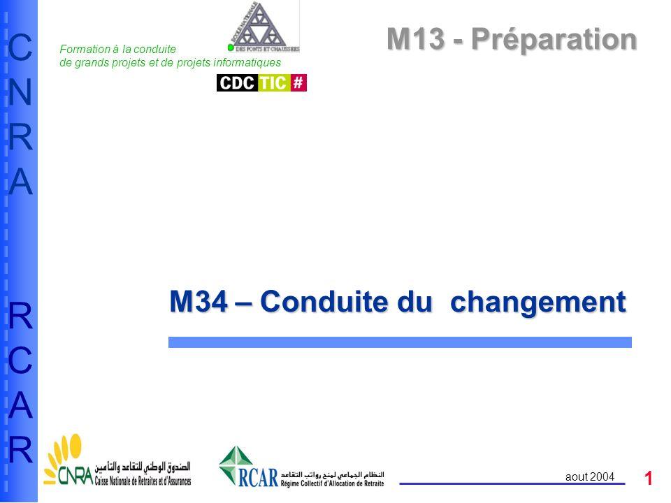 1 CNRARCARCNRARCAR aout 2004 M13 - Préparation M34 – Conduite du changement Formation à la conduite de grands projets et de projets informatiques