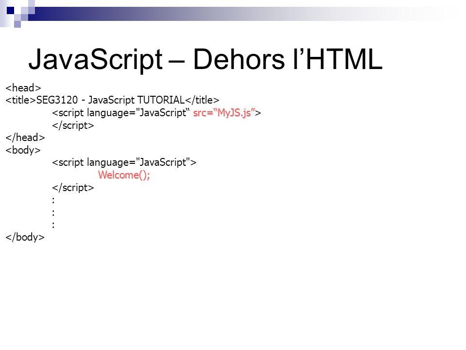 JavaScript – Dehors lHTML SEG3120 - JavaScript TUTORIAL src=MyJS.js Welcome(); :
