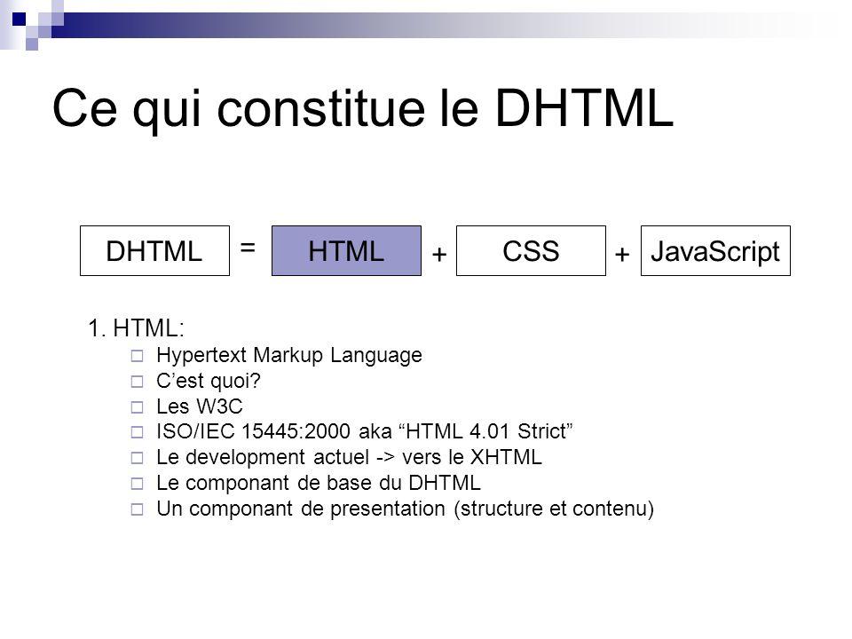 Ce qui constitue le DHTML 1. HTML: Hypertext Markup Language Cest quoi.