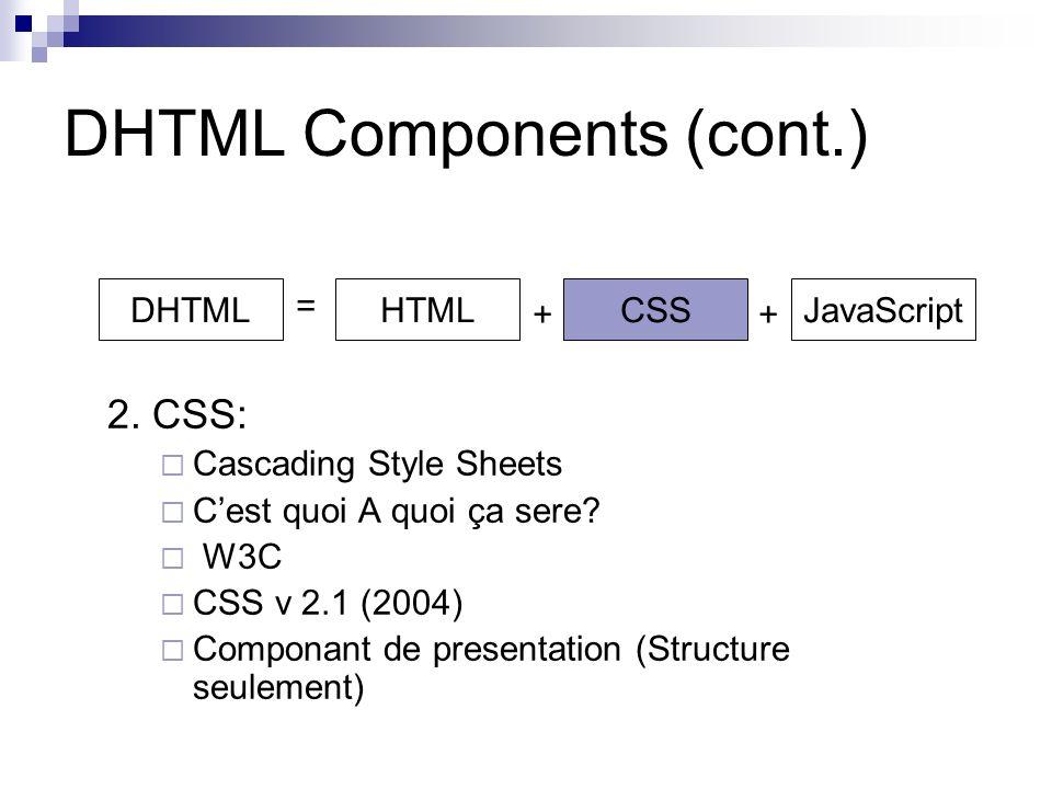 DHTML Components (cont.) 2. CSS: Cascading Style Sheets Cest quoi A quoi ça sere.