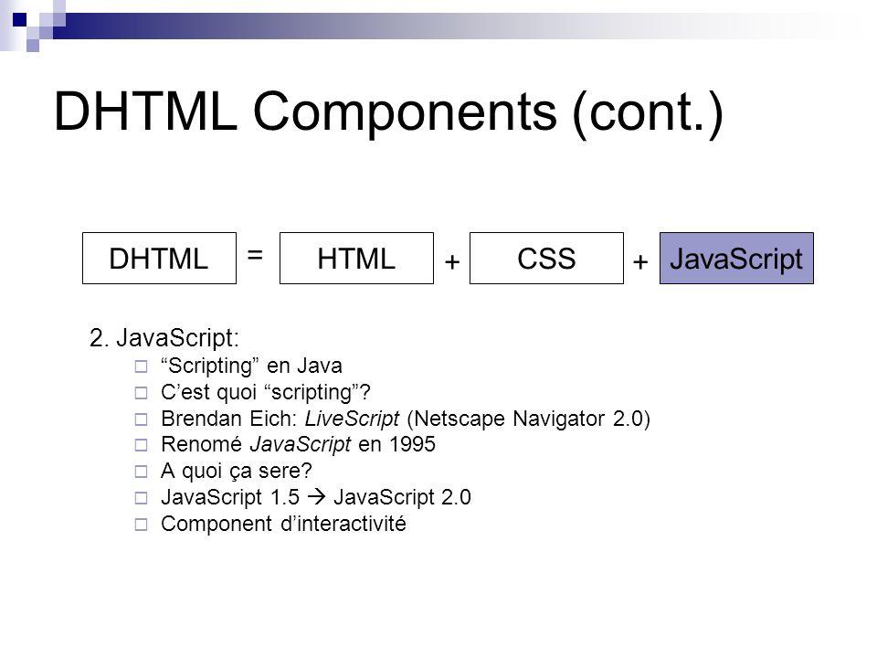 DHTML Components (cont.) 2. JavaScript: Scripting en Java Cest quoi scripting.