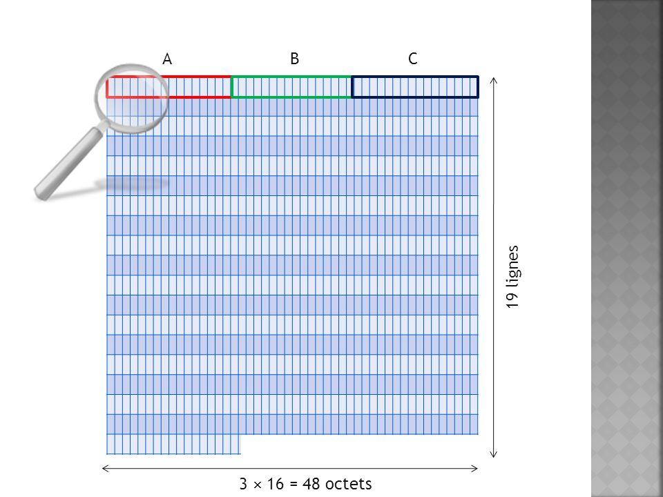 A B C 19 lignes 3 16 = 48 octets