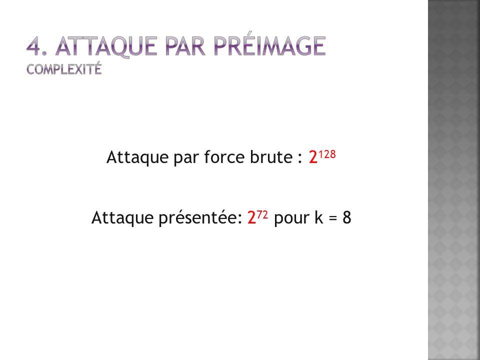 Attaque par force brute : 2 128 Attaque présentée: 2 72 pour k = 8