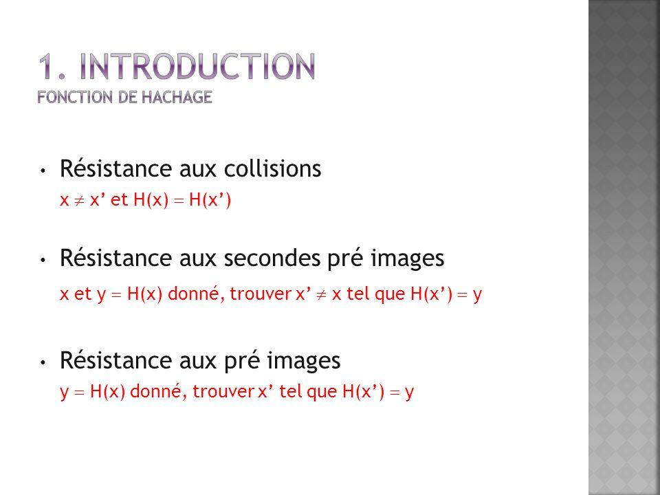 Résistance aux collisions x x et H(x) H(x) Résistance aux secondes pré images x et y H(x) donné, trouver x x tel que H(x) y Résistance aux pré images