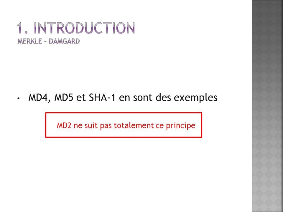 MD4, MD5 et SHA-1 en sont des exemples MD2 ne suit pas totalement ce principe