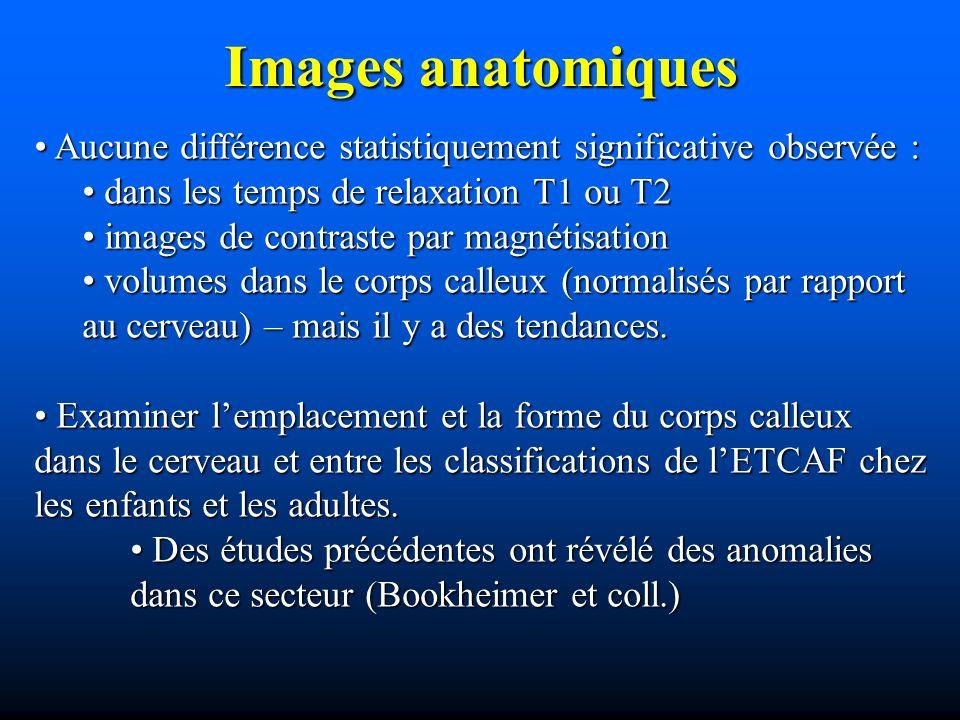 Images anatomiques Aucune différence statistiquement significative observée : Aucune différence statistiquement significative observée : dans les temp