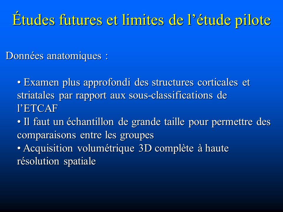 Études futures et limites de létude pilote Données anatomiques : Données anatomiques : Examen plus approfondi des structures corticales et striatales