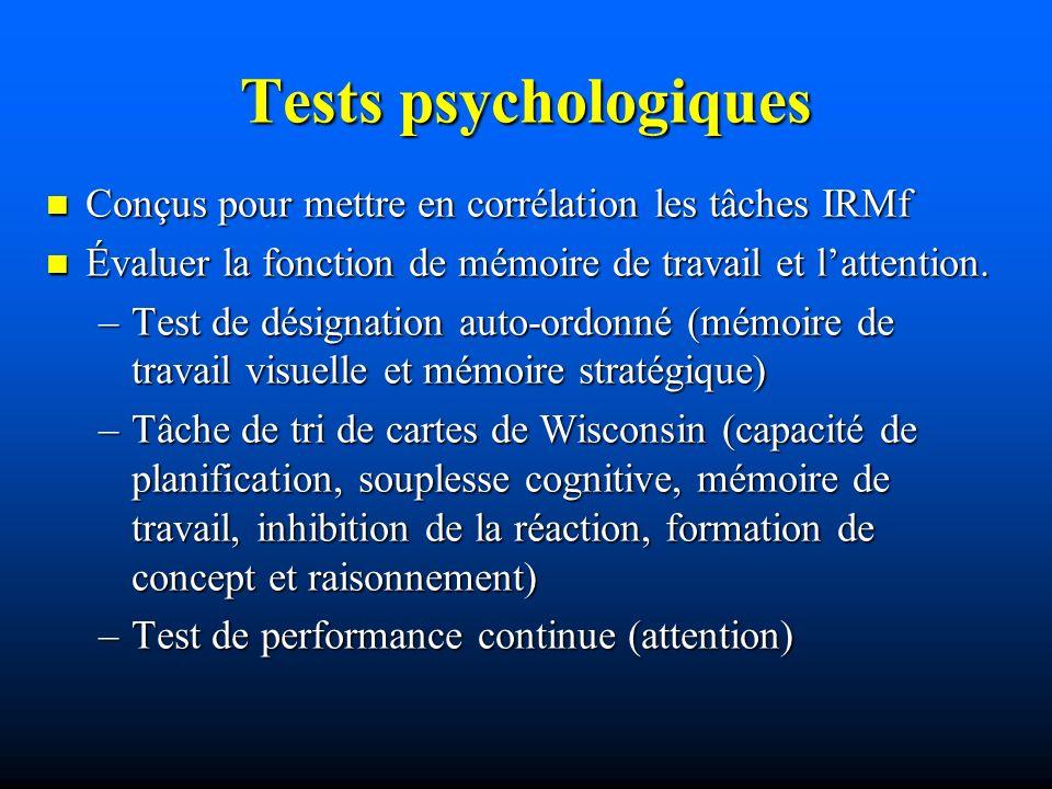 Conçus pour mettre en corrélation les tâches IRMf Conçus pour mettre en corrélation les tâches IRMf Évaluer la fonction de mémoire de travail et latte
