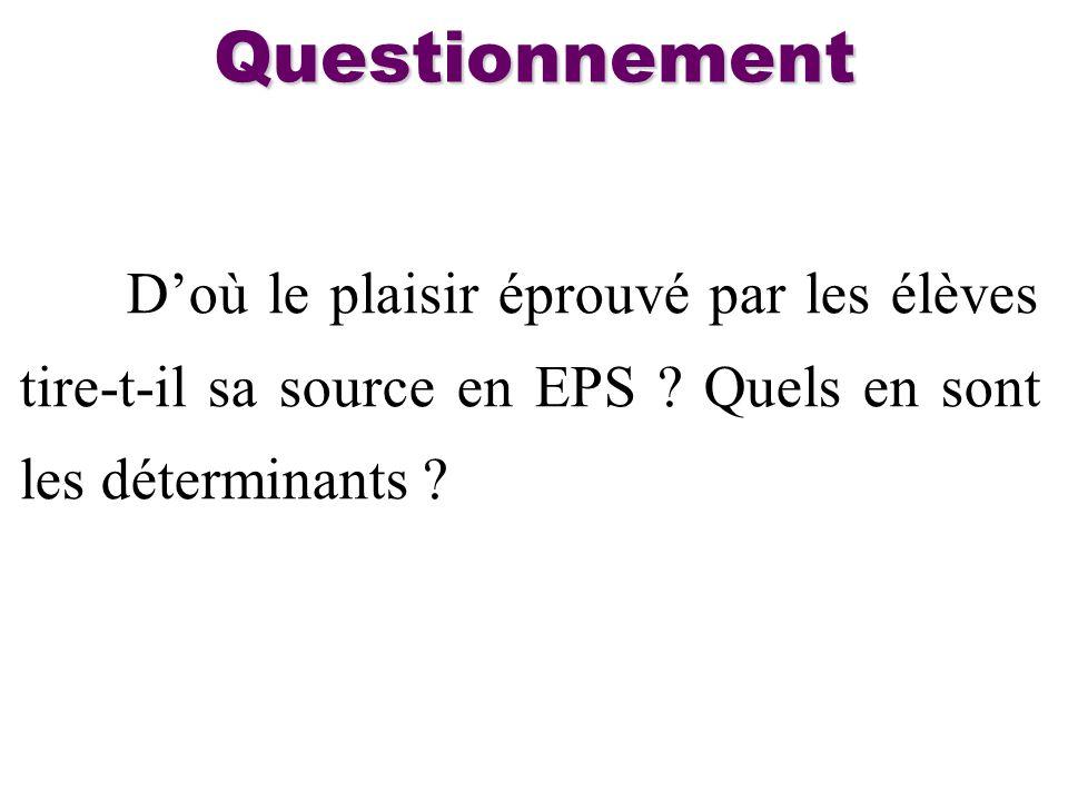 Doù le plaisir éprouvé par les élèves tire-t-il sa source en EPS ? Quels en sont les déterminants ? Questionnement