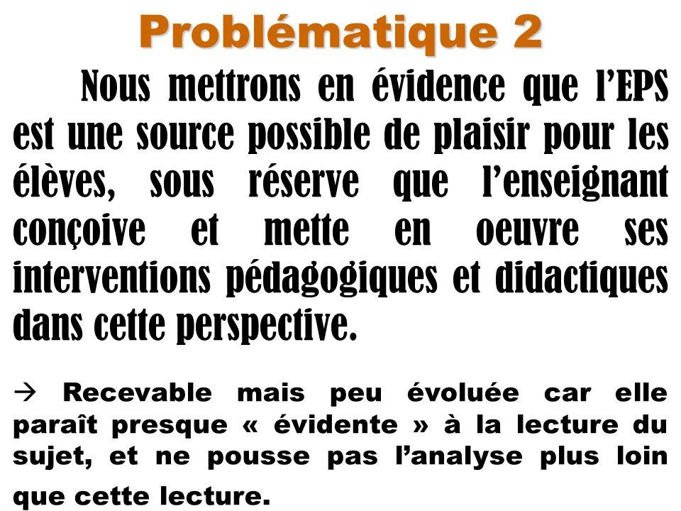 Problématique 2 Nous mettrons en évidence que lEPS est une source possible de plaisir pour les élèves, sous réserve que lenseignant conçoive et mette