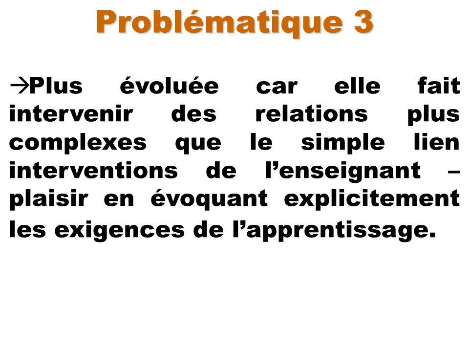 Problématique 3 Plus évoluée car elle fait intervenir des relations plus complexes que le simple lien interventions de lenseignant – plaisir en évoqua