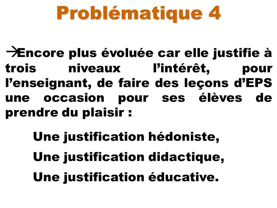 Problématique 4 Encore plus évoluée car elle justifie à trois niveaux lintérêt, pour lenseignant, de faire des leçons dEPS une occasion pour ses élève