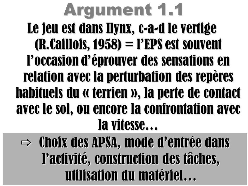 Argument 1.1 Le jeu est dans Ilynx, c-a-d le vertige (R.Caillois, 1958) = lEPS est souvent loccasion déprouver des sensations en relation avec la pert