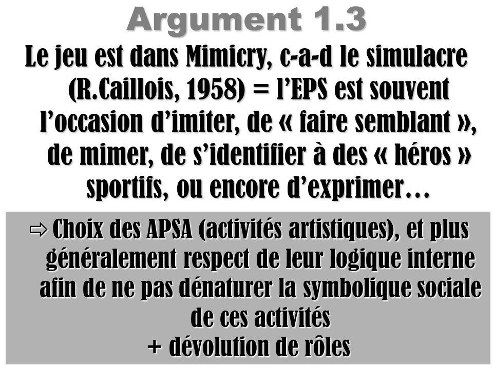 Argument 1.3 Le jeu est dans Mimicry, c-a-d le simulacre (R.Caillois, 1958) = lEPS est souvent loccasion dimiter, de « faire semblant », de mimer, de