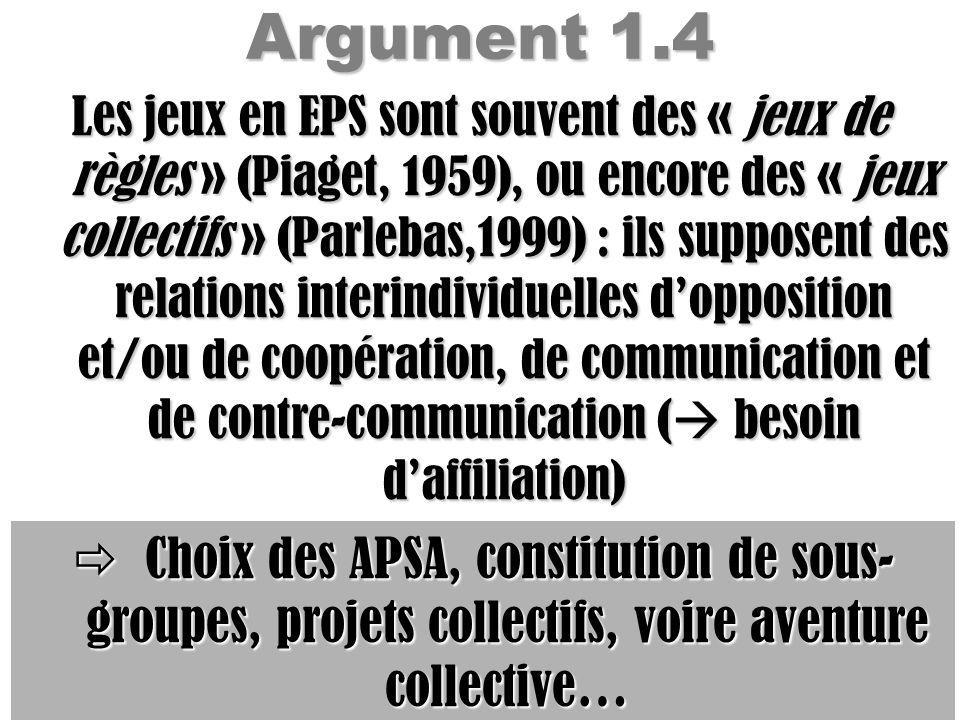 Argument 1.4 Les jeux en EPS sont souvent des « jeux de règles » (Piaget, 1959), ou encore des « jeux collectifs » (Parlebas,1999) : ils supposent des