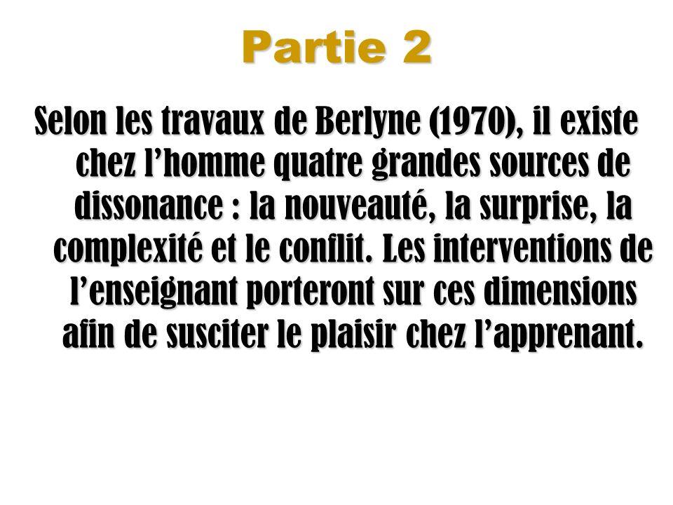 Partie 2 Selon les travaux de Berlyne (1970), il existe chez lhomme quatre grandes sources de dissonance : la nouveauté, la surprise, la complexité et