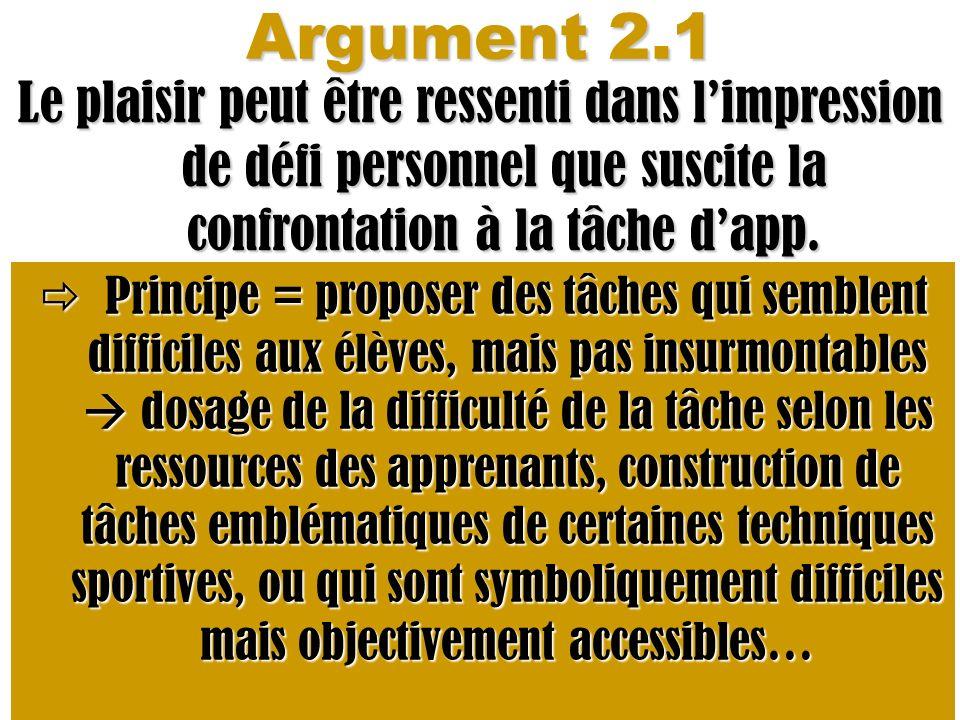 Argument 2.1 Le plaisir peut être ressenti dans limpression de défi personnel que suscite la confrontation à la tâche dapp. Principe = proposer des tâ