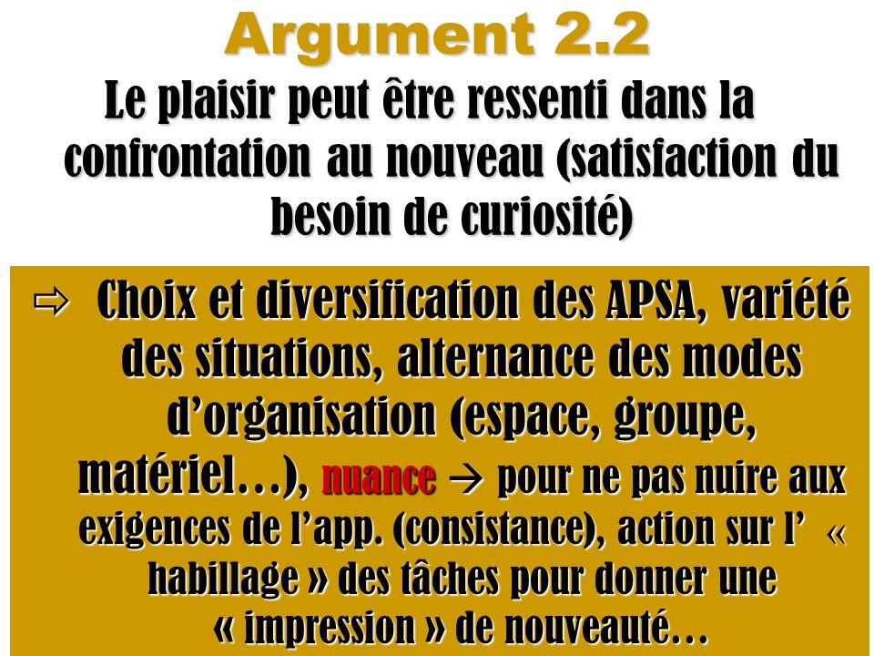Argument 2.2 Le plaisir peut être ressenti dans la confrontation au nouveau (satisfaction du besoin de curiosité) Choix et diversification des APSA, v