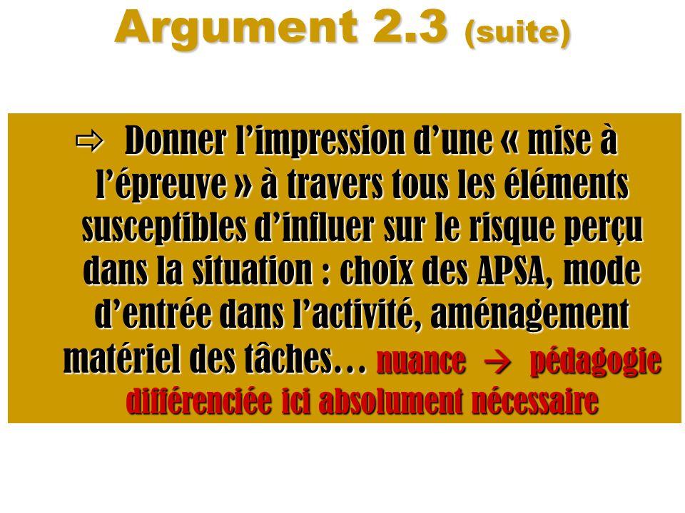 Argument 2.3 (suite) Donner limpression dune « mise à lépreuve » à travers tous les éléments susceptibles dinfluer sur le risque perçu dans la situati