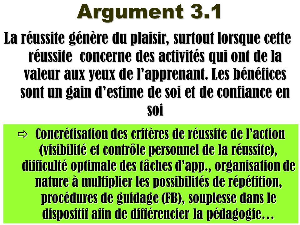 Argument 3.1 La réussite génère du plaisir, surtout lorsque cette réussite concerne des activités qui ont de la valeur aux yeux de lapprenant. Les bén