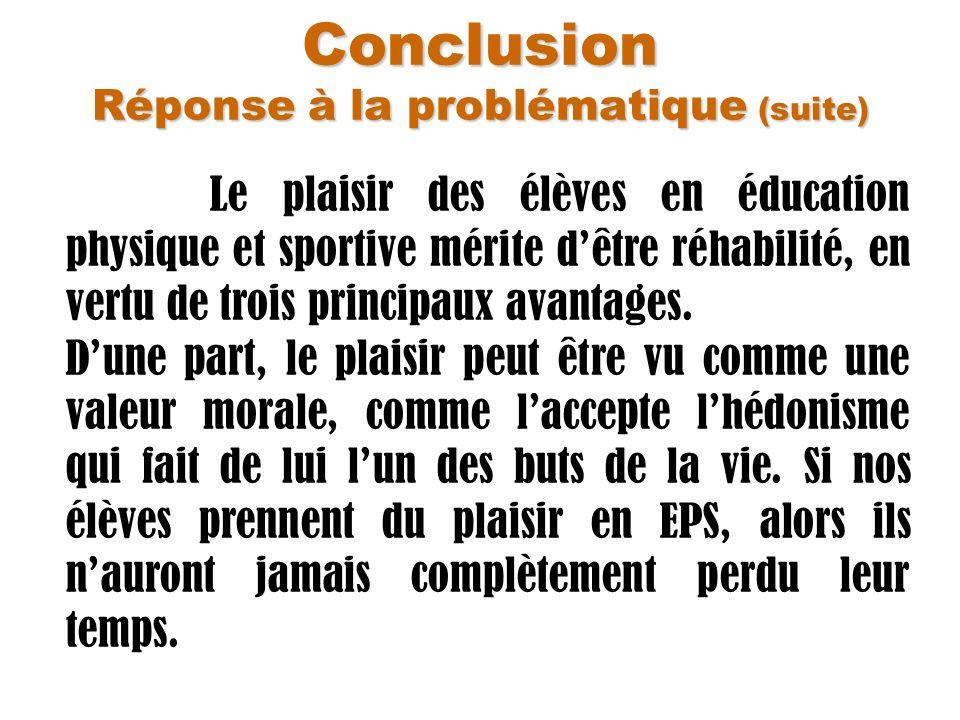 Conclusion Réponse à la problématique (suite) Le plaisir des élèves en éducation physique et sportive mérite dêtre réhabilité, en vertu de trois princ