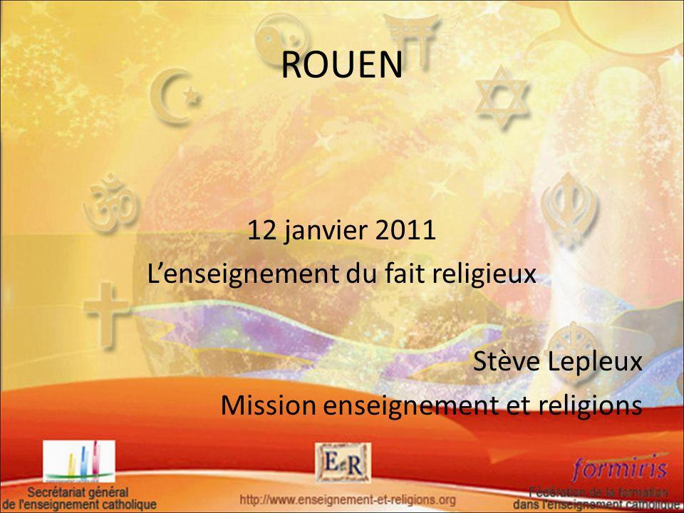 La prise en compte du fait religieux nest pas: - un enseignement religieux : catéchisme, - une adhésion confessionnelle au christianisme ou à toutes autres religions, - du prosélytisme, - de lévangélisation.