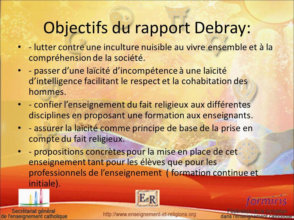Objectifs du rapport Debray: - lutter contre une inculture nuisible au vivre ensemble et à la compréhension de la société. - passer dune laïcité dinco