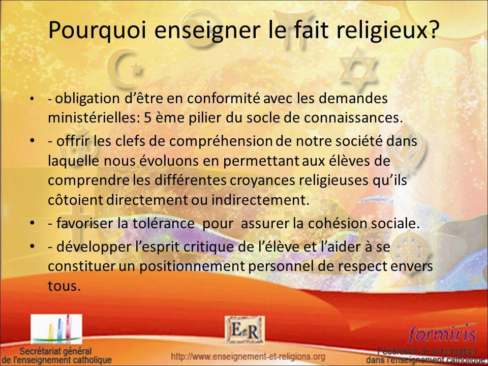 Pourquoi enseigner le fait religieux? - obligation dêtre en conformité avec les demandes ministérielles: 5 ème pilier du socle de connaissances. - off