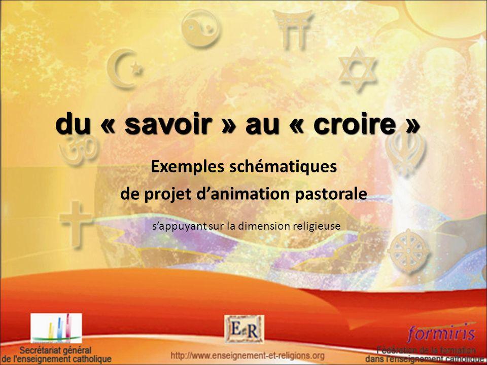 Exemples schématiques de projet danimation pastorale sappuyant sur la dimension religieuse du « savoir » au « croire »