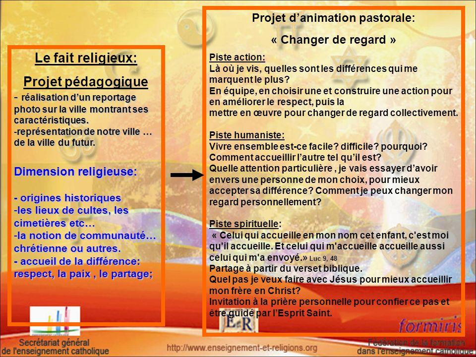 Le fait religieux: Projet pédagogique - réalisation dun reportage photo sur la ville montrant ses caractéristiques. -représentation de notre ville … d