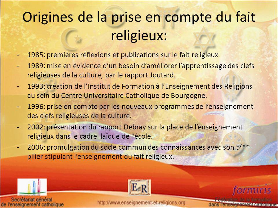 Origines de la prise en compte du fait religieux: -1985: premières réflexions et publications sur le fait religieux -1989: mise en évidence dun besoin
