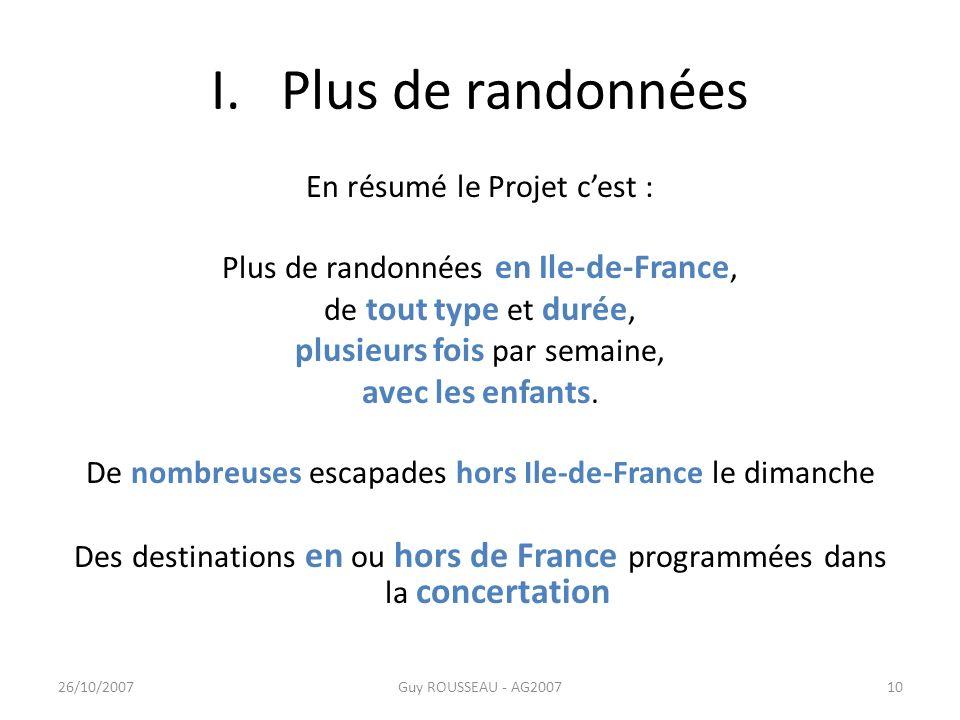I. Plus de randonnées En résumé le Projet cest : Plus de randonnées en Ile-de-France, de tout type et durée, plusieurs fois par semaine, avec les enfa