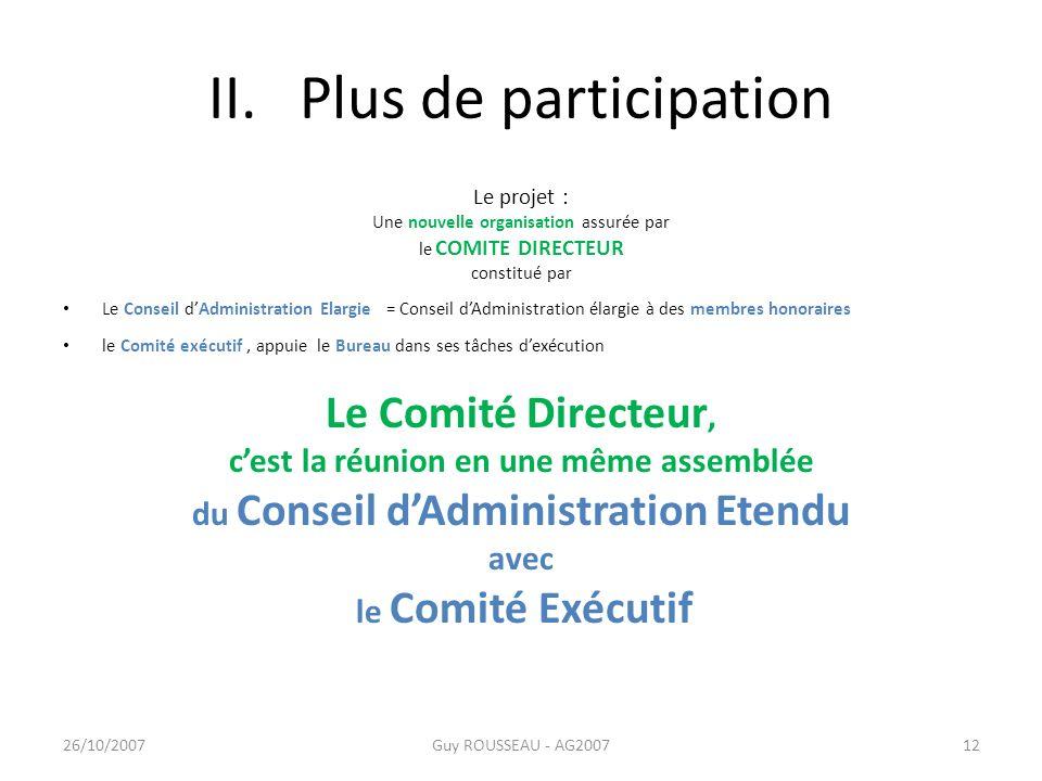 II. Plus de participation Le projet : Une nouvelle organisation assurée par le COMITE DIRECTEUR constitué par Le Conseil dAdministration Elargie = Con