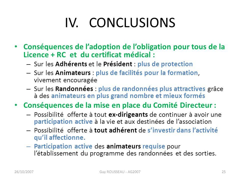 IV. CONCLUSIONS Conséquences de ladoption de lobligation pour tous de la Licence + RC et du certificat médical : – Sur les Adhérents et le Président :