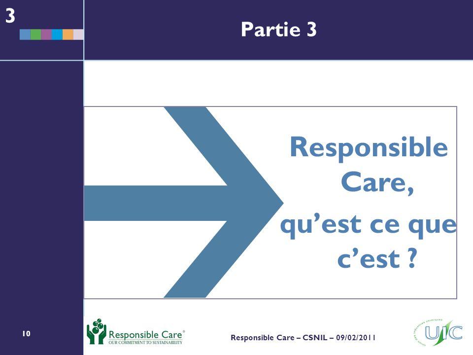 10 Responsible Care – CSNIL – 09/02/2011 Responsible Care, quest ce que cest ? 3 Partie 3