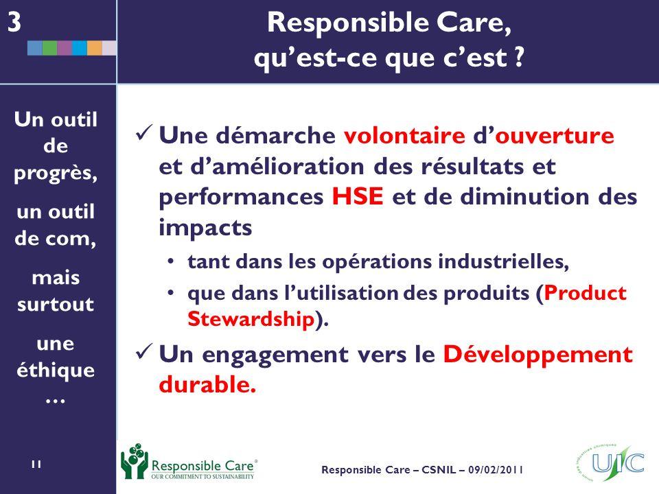 11 Responsible Care – CSNIL – 09/02/2011 Responsible Care, quest-ce que cest .