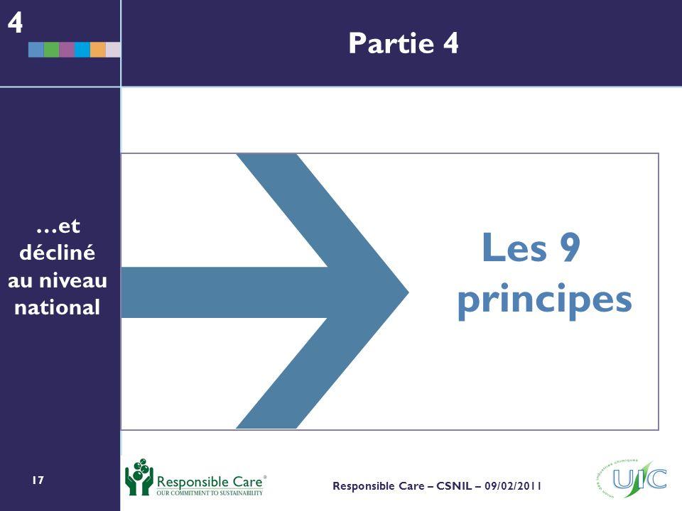 17 Responsible Care – CSNIL – 09/02/2011 Les 9 principes …et décliné au niveau national 4 Partie 4