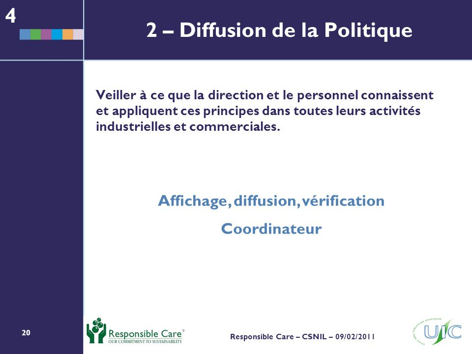 20 Responsible Care – CSNIL – 09/02/2011 Veiller à ce que la direction et le personnel connaissent et appliquent ces principes dans toutes leurs activités industrielles et commerciales.