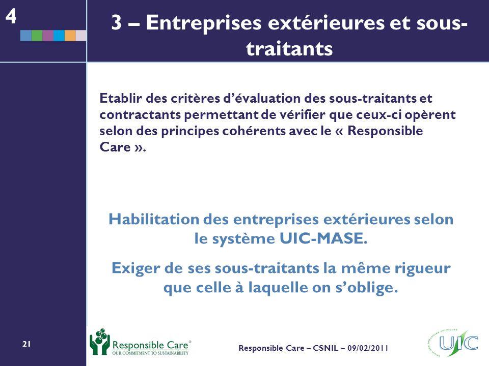 21 Responsible Care – CSNIL – 09/02/2011 Etablir des critères dévaluation des sous-traitants et contractants permettant de vérifier que ceux-ci opèrent selon des principes cohérents avec le « Responsible Care ».