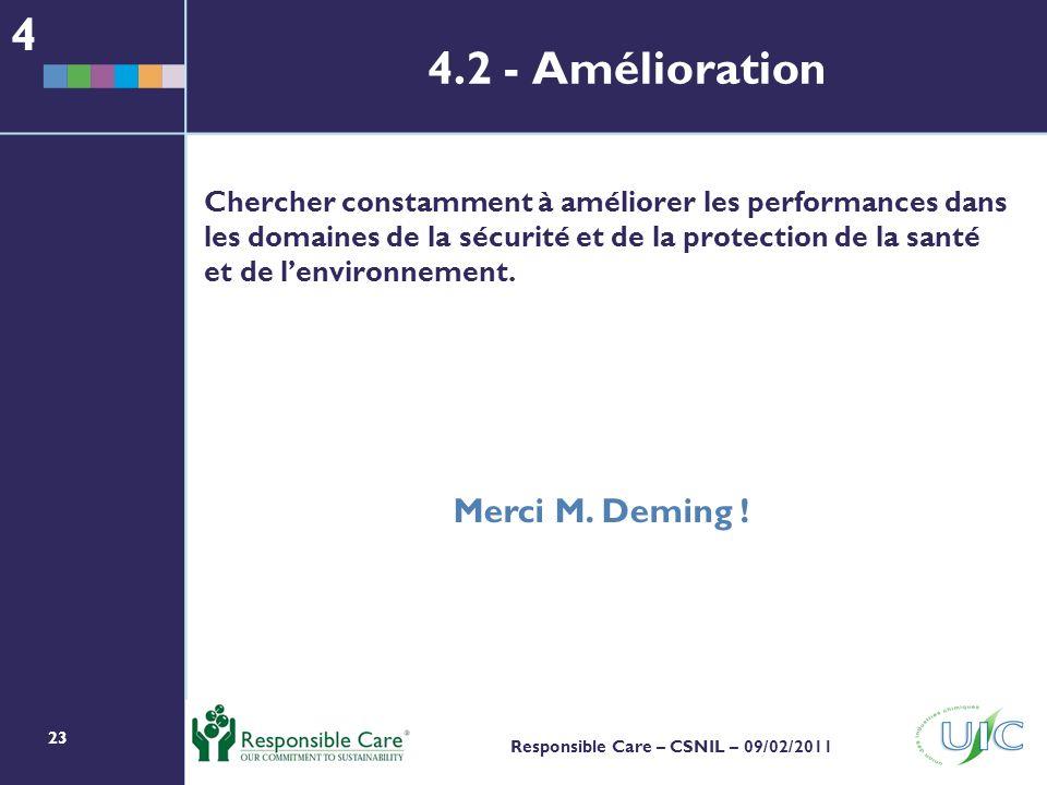 23 Responsible Care – CSNIL – 09/02/2011 Chercher constamment à améliorer les performances dans les domaines de la sécurité et de la protection de la santé et de lenvironnement.