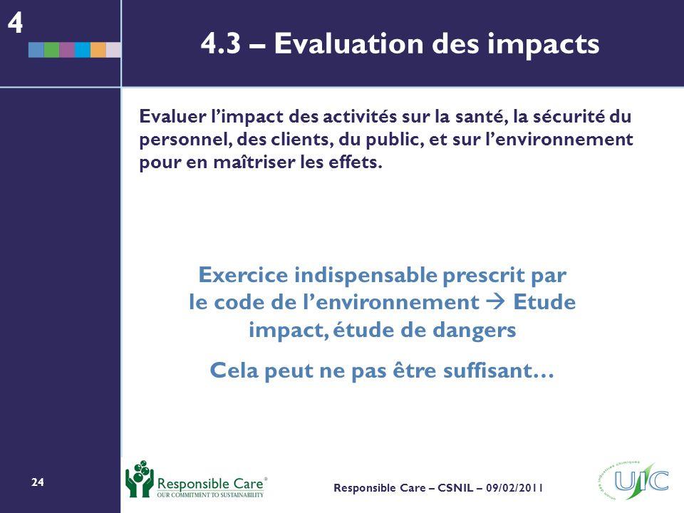 24 Responsible Care – CSNIL – 09/02/2011 Evaluer limpact des activités sur la santé, la sécurité du personnel, des clients, du public, et sur lenvironnement pour en maîtriser les effets.