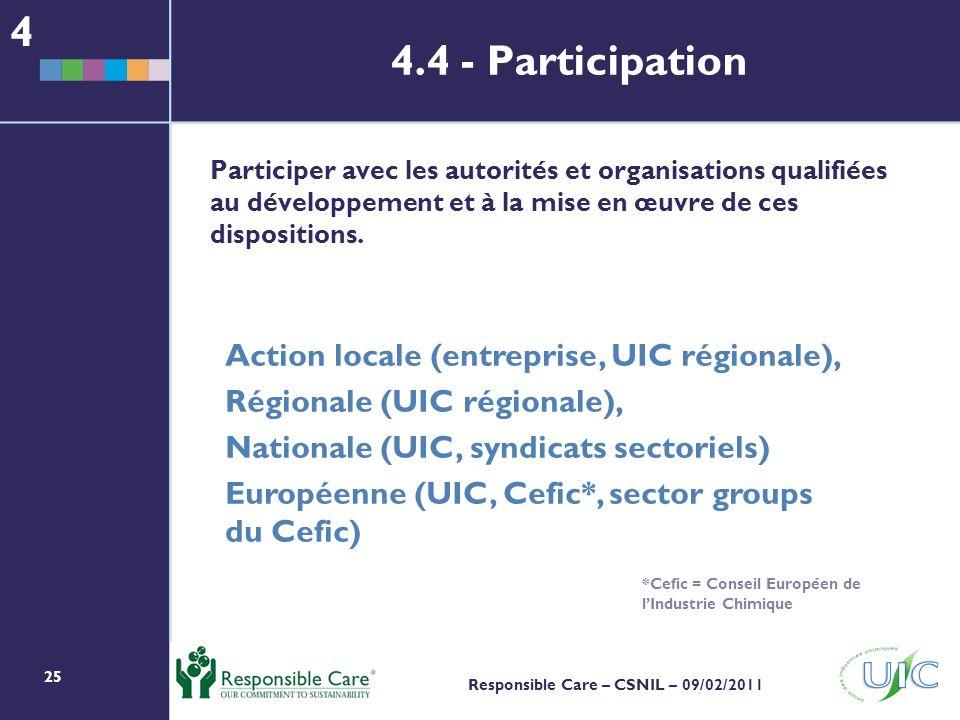 25 Responsible Care – CSNIL – 09/02/2011 Participer avec les autorités et organisations qualifiées au développement et à la mise en œuvre de ces dispositions.