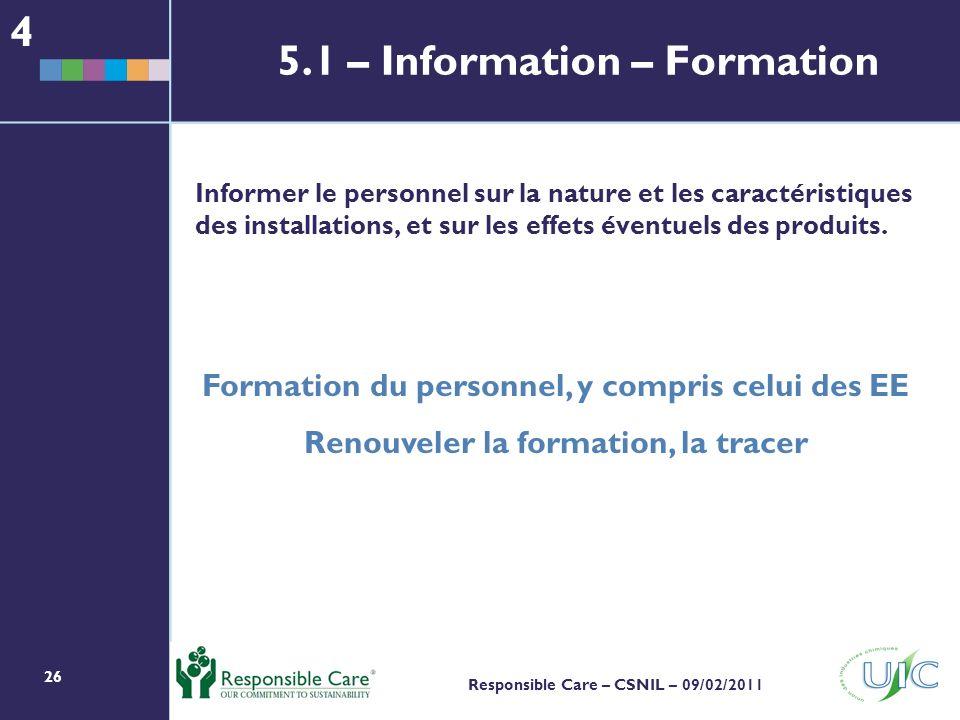 26 Responsible Care – CSNIL – 09/02/2011 Informer le personnel sur la nature et les caractéristiques des installations, et sur les effets éventuels des produits.