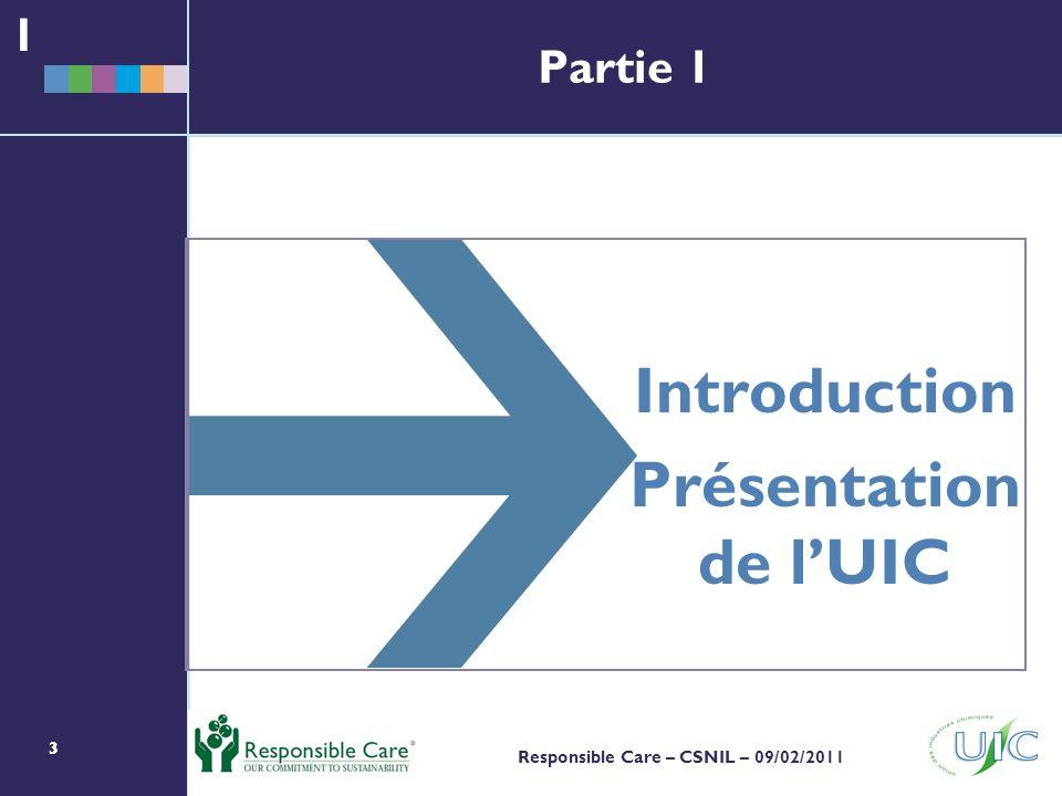 333 Responsible Care – CSNIL – 09/02/2011 Partie 1 Introduction Présentation de lUIC 1