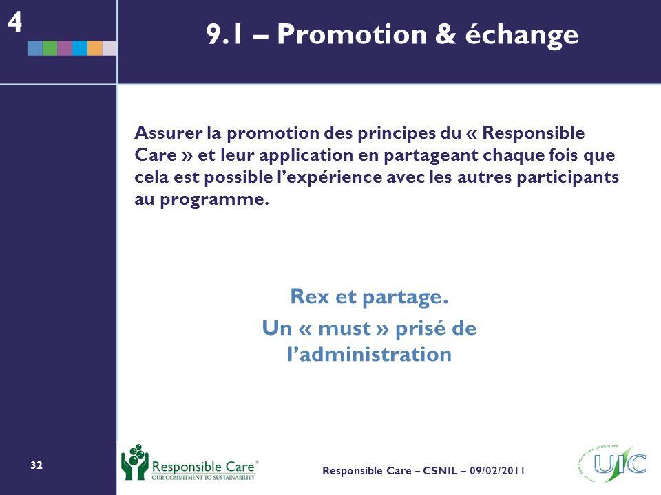 32 Responsible Care – CSNIL – 09/02/2011 Assurer la promotion des principes du « Responsible Care » et leur application en partageant chaque fois que cela est possible lexpérience avec les autres participants au programme.